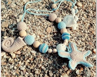 Blue starfish necklace Sling Necklace present for mum-to-be and baby Crochet nursing necklace teething necklace Sling accessories