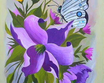 Acrylic Painting Wall Art, Butterfly in Wildflowers, Insect Wall Art Lavender Pink Yellow  original by Michael Hutton 9 x 12