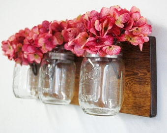 Knotty Pine with Clear Mason Jars, wall decor, home decor, rustic decor, bedroom decor, kitchen decor, flower wall display, mason jars