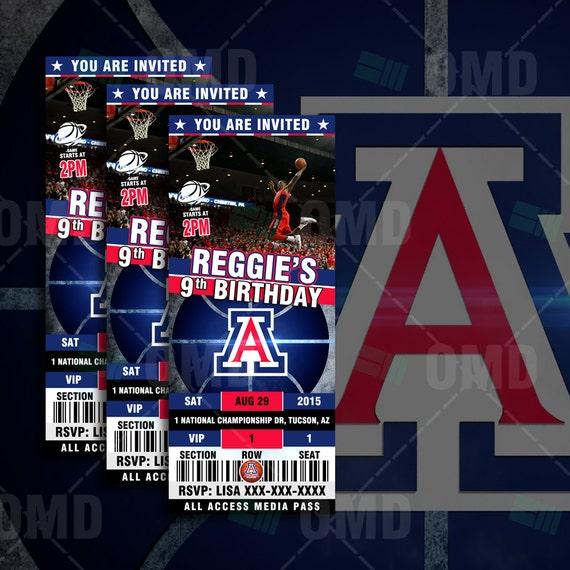 Arizona Wildcats Sports Party Invitation Sports By