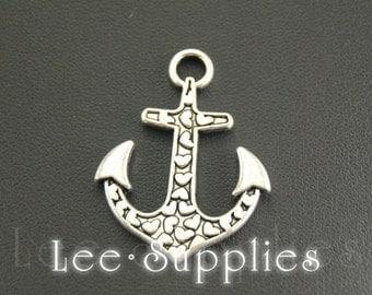 10pcs Antique Silver Alloy Love Heart Anchor Charms Pendant A873