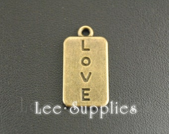 10pcs Antique Bronze Alloy Love Rectangular Charms Pendant A314