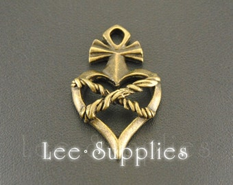 10pcs Antique Bronze Alloy Metal Medievil Heart Charms Pendant A512