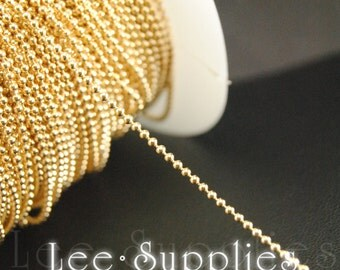 16ft(5m) 1.5mm KC Gold Plated Metal Brass Ball Necklace Chain C48
