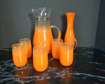 Tangerine Blendo Pitcher with Juice Glasses from Colonial Glass