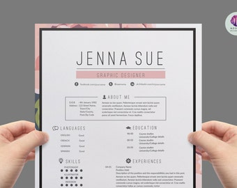 resume template cover letter template reference letter templaten pink floral theme