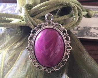 Cabochon purple silver pendant