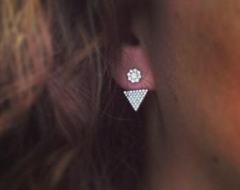 """Triangle"" earrings, Cubic Zirconia, Zirconia earring."
