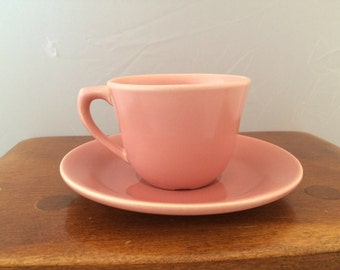 Vintage Bauer Pottery Plainware Coffee Cup and Saucer - Pink