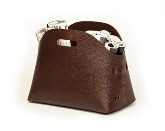 Leather storage basket | leather basket | leather bin | storage bin | storage basket | free shipping | brown leather basket