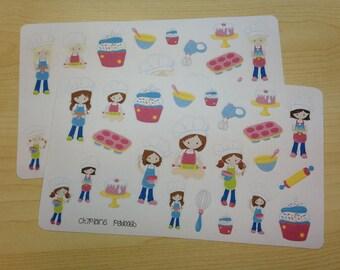 Baking Planner Stickers, Baking Girls