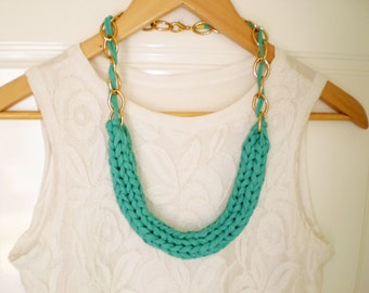 chunky necklace teal tshirt necklace green  knitted necklace chunky blue necklace statement necklace statement tshirt jewelry free shipping