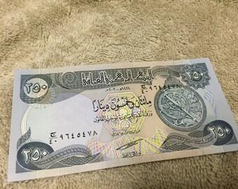 iraq Iraqi 250 Dinar bill cash, iraqi currency money MINT paper money