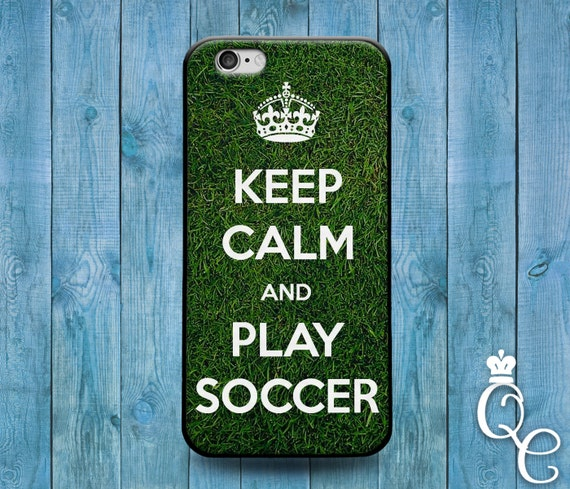 iPhone 4 4s 5 5s 5c SE 6 6s 7 plus + iPod Touch 4th 5th 6th Gen Cute Green Soccer Field Keep Calm Funny Phone Cover Sport Athlete Fun Case