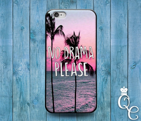 iPhone 4 4s 5 5s 5c SE 6 6s 7 plus iPod Touch 4th 5th 6th Gen Cool Pink Palm Tree Quote Cover Fun Cute Funny Phone Case No Drama Please