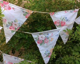 cottage chic fabric floral banner