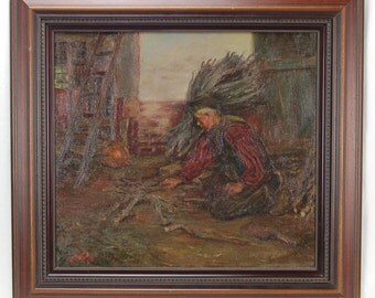 1900 Oil Painting Dutch Peasant Man Building Fire Signed Hehn