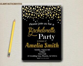 Bachelorette Party Invitation, Gold Glitter Bachelorette Invite, Bachelorette, Chalkboard Invitation, Party invitation, Bachelorette Party