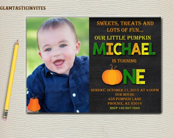 Pumpkin Birthday Invitation, Fall Birthday Invitation, Pumpkin, First Birthday Invitation, Fall Leaves, Any Age Invitation, Turning 2