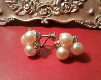 Classic Screwback Pearl and Rhinstone Earrings
