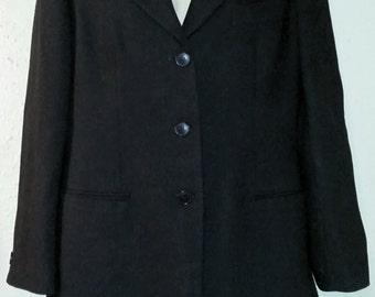 Giorgio Armani Le Collezioni Womens Black Wool 2 piece Suit Jacket with Skirt, Giorgio Armani Suit, Designer suit set, Womens black suit