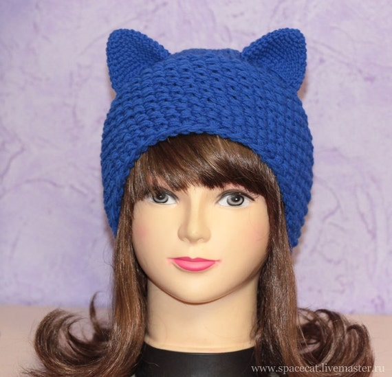 Knitting Patterns For Hats With Cat Ears : Blue Cat Hat Knit Hat with Cats ears Womens Cat by SpaceCatGirl