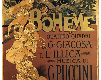 Music La Boheme Opera Music by G. Puccini Theater Show Vintage Poster Repro FREE SHIPPING in USA