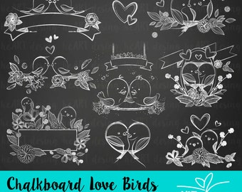 Chalkboard Love Birds Clipart / Digital Clip Art for Commercial and Personal Use / INSTANT DOWNLOAD
