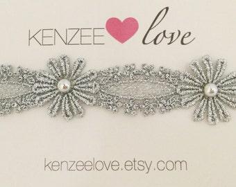 Embellished Silver headband | Silver lace headband | Bridal headband