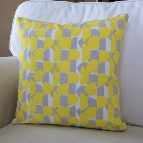Throw Pillow On Chair : Items similar to Yellow Gray Farmhouse Geometric Throw Pillow Cushion Cover Decorative Coastal ...