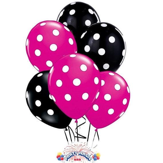 12 hot pink and black polka dot balloons 11 latex for Pink polka dot decorations