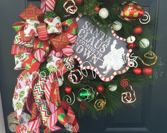 On Sale, Santa Claus is coming to town,Christmas wreath, winter wreath, santa wreath
