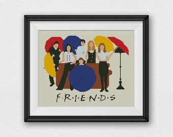 BOGO FREE! Friends Cross Stitch Pattern, Lounge Central Perk Cross Stitch Chart, Friends TV Show Cross Stitch Pattern, pdf Download #027-2