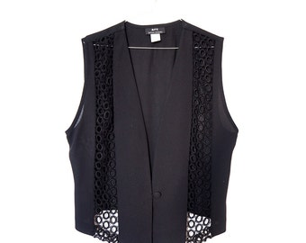 Vintage Black Lace Detail Fashion Vest . Embroidery Fabric Tie Back . Modern Retro Look
