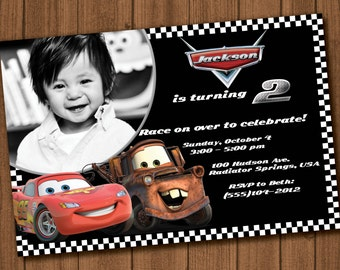 Cars Birthday Invitation file with photo