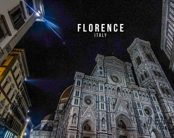 Florence Cathedral, Florence Print, Florence Italy, Duomo, Italy Art, Italy Photo, Architecture, Night, Wall Art