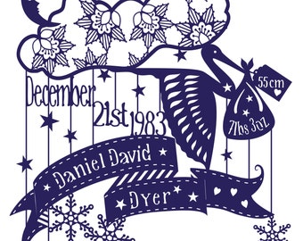 Birth details Stork and Baby Bundle PDF Paper Cut Template - Personalised
