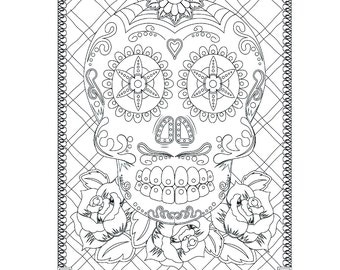 Sugar Skull Coloring Page For Adults Day Of The Dead Instant Download Book Halloween Sheet PDF JPG Digital Stamp