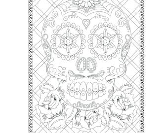 Sugar Skull Coloring Page for Adults, Day of the Dead, Instant Download, Coloring Book, Halloween Coloring Sheet, PDF JPG Digital Stamp