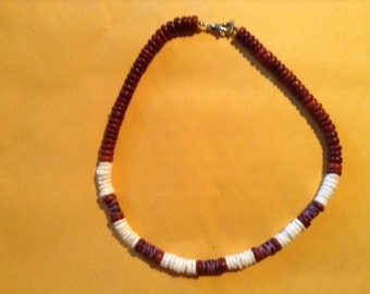 Dark Red and White Necklace
