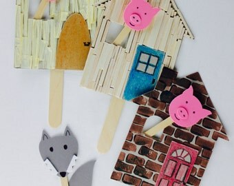 Three Little Pigs and Hansel and Gretel puppet art and craft kit for kids