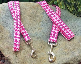 Dog Leash - Pink Houndstooth Print