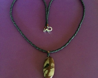 Picture Jasper pendant on beaded necklace