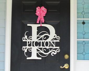 Monogram Wreath, Front Door Wreath, Monogram Door Wreath. Metal Letter,  Metal Surname Sign, Custom Name Sign, Front Door, Last Name.