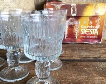 Ravenhead Siesta Sherry / Port Glasses Boxed // Vintage Retro Drinking Glasses // Bark Effect Goblets