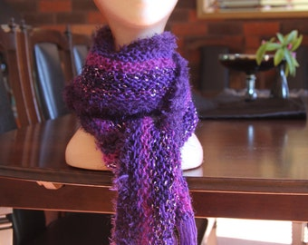 Purple Hand Knitted Scarf
