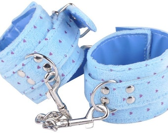 Blue Wrist Cuffs / Handcuffs / Restraints / Faux Fur