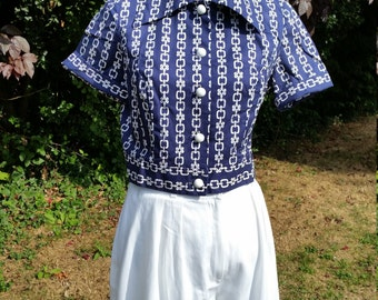 Ahoy There! Anchor's Aweigh! Gorgeous Horrockses 40s Style Blouse.
