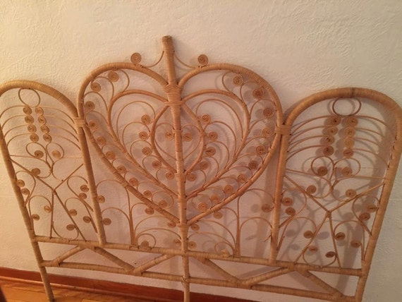Vintage Rattan Wicker Peacock Double Headboard