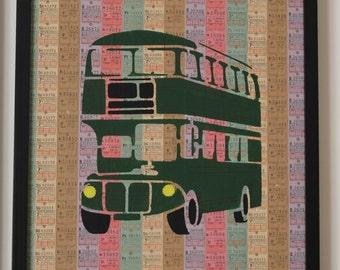 Green Bus Stencil On Genuine Vintage UK Bus Tickets